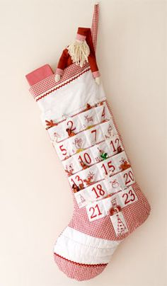 Fill each pocket with a small surprise and watch the excitement build! On the last day, the stocking itself can then be filled with surprises from Santa!