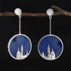 UK 925 Sterling Silver The City Dangle Earrings Jewellery Natural Handmade Valentine Gifts, Women's Earrings, Dangles, Jewelry Accessories, Fashion Jewelry, Sterling Silver, Christmas Gifts, Handmade, 3d