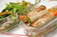 野菜の肉巻き 小松菜と豆モヤシ炒め