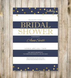 RUSTIC NAUTICAL Bridal Shower Invitation, Navy Blue Stripes Wedding Shower Invite, Gold Couples Shower, Tying the Knot, Blue Gold, Printable
