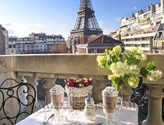 Someday I want to stay in a hotel or apartment in Paris that has a balcony view of the Eiffel Tower