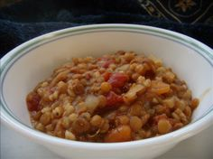 "Italian Lentil & Barley Soup: ""This is a surprisingly filling, vegetarian, crock pot soup. It is very good, and easy to prepare the night before, or chop the veggies in advance and turn it on before you leave for work in the morning. Goes great with a crusty bread."" -Shaye"