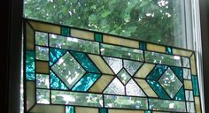 Aqua and Cream Stained Glass Window Panel. $155.00, via Etsy.