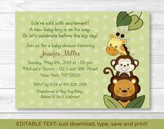 Safari Jungle Animal Baby Shower Invitation por LittlePrintsParties