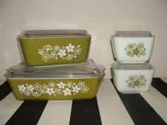 Vintage Pyrex Crazy Daisy Avocado Green & White Flower Spring Blossom Fridge Set Pyrex Collection Retro Kitchen on Etsy, $65.00