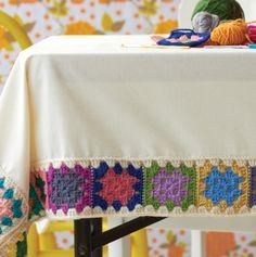 Granny square crochet border on tablecloth
