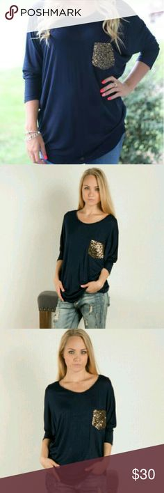 🎉🎉HP🎉🎉Fall sequin shirt!! HOST PICK!! Simple chic party 11/27 ❤❤❤  Only 4 left!! Adorable 3/4 sleeve sequin pocket shirt!!  95% rayon 5%spandex Fashionomics Tops Tees - Long Sleeve