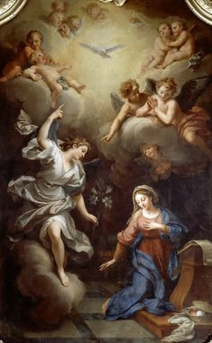 This artwork by Boulogne depicts the Annunciation of the Archangel Gabriel to the Virgin Mary. It is the moment of the Incarnation when Our Lady consents to be the mother of God. Blessed Mother Mary, Blessed Virgin Mary, Renaissance Paintings, Renaissance Art, Catholic Art, Religious Art, Madonna, Archangel Gabriel, Jesus Christus