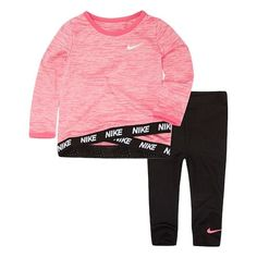 13d0104b27886 Baby Girl Nike Dri-FIT Pink Tunic Top   Leggings Set