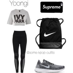 Dance Practice with Yoongi by some-kpop-outfits on Polyvore featuring polyvore, fashion, style, Ivy Park, Zella, NIKE and clothing