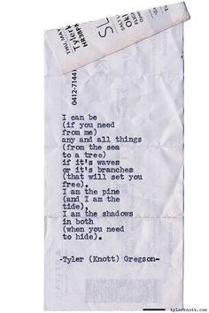Typewriter Series #1052byTyler Knott Gregson *Chasers of the Light, is available throughAmazon,Barnes and Noble,IndieBound,Books-A-Million,Paper SourceorAnthropologie*