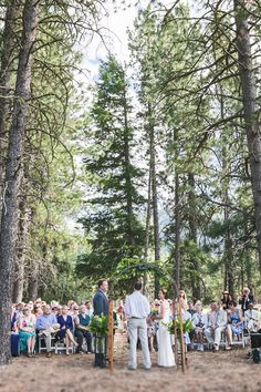 wedding ceremony in the Mazama forest, under Douglas Fir and Ponderosa pine trees.  at Mazama Ranch House.  Also shooting at Sun Mountain Lodge.