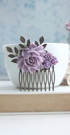 Lavender Comb Purple Flower Hair Comb Bridal Rose Hair Comb Bridal Hair Comb Lilac Wedding Hair Accessory Bridesmaid Gift Romantic Hairpiece by MAROLSHA - https://www.etsy.com/transaction/1151915815