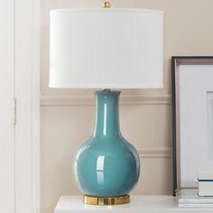 Lampada da tavolo Sky - Ceramica/Tessuto Bianco/Blu