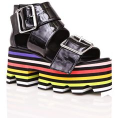 Current Mood Rainbow Stackz Platforms ($88) ❤ liked on Polyvore featuring shoes, sandals, black shoes, wrap sandals, black platform sandals, black sandals and cut out sandals