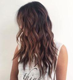 Brunette Shaggy Wavy Hairstyle