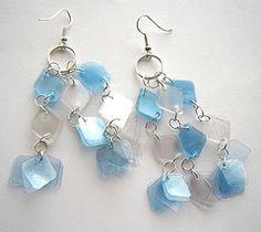 Upcycled pop bottle earrings
