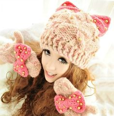 "New -  Winter Fashion - Warm Woman's Cute Knit PINK ""BOW & PEARLS"" Hat / Cap   #VASCRO #KnitHatCap"