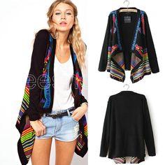 Q577 Women Ladies Irregular striped Boho Cardigan Outerwear Coat Sweatshirt Jacket Large Tops Wraps Wholesale US $19.19