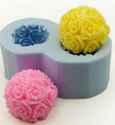 2-cavity Rose Ball Soap Mold Flexible Silicone Mold by diycakemold