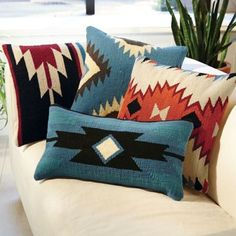 Aztec Throw Pillows - Black and Blue Square
