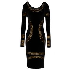 long sleeve knee-length print dress plus size women pencil dress new in 2014 fashion casual dress #DCW30738 Product pics #5