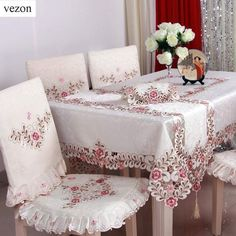 Online Shop vezon Hot Sale Elegant Satin Jacquard Embroidery Floral Tablecloths Handmade Cutwork Embroidered Table Cloth Cover Overlays | Aliexpress Mobile