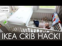 Baby diy crib ikea hacks new Ideas Ikea Sniglar Crib, Crib With Changing Table, Ikea Crib Hack, Ikea Hacks, Co Sleeper Crib, Nursery Nook, Small Space Nursery, Mesas, Pregnancy