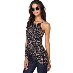 Sling style,with floral print pattern,sweet and fresh. Irregular flouncing hemline design adds its chic and stylish sense. No matter pairing it with jeans or shorts,it looks perfect and charming.