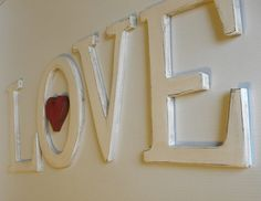 Hanging wood letters 12 LOVE Painted by sERINasCustomShop on Etsy, $80.00.  Steve could make these for little or nothing!