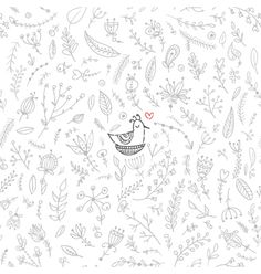 Seamless floral pattern with bird in the nest vector. Nature doodle by samiola-la-la on VectorStock®