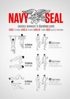 Navy Seal Training - Military Fitness Exercises - Train Like a Seal Fitness Workouts, Fitness Hacks, Gym Workout Tips, Ab Workout At Home, At Home Workouts, Health Fitness, Workout Plans, Spartan Workout, Exercise Plans