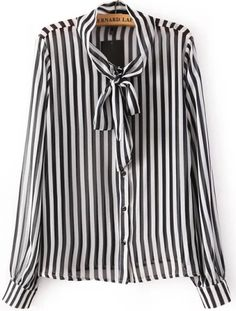 this is a piece that never goes out of style...  Black Long Sleeve Bow Embellished Striped Blouse 15.83