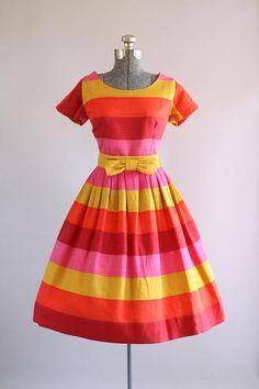 Vintage 1950s Beryle of California Striped Dress w/ Bow Belt L
