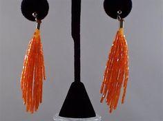 Long  Bold Multi Strand Sparkling Orange Beaded Dressy Party Earrings