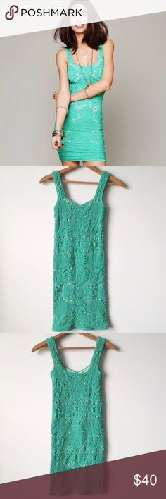 Free people medallion bodycon lace dress Teal colored free people lace medallion body con slip dress in excellent condition smoke-free pet free home Free People Dresses Mini
