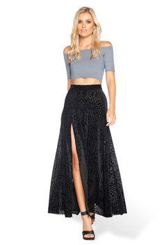 Burned Velvet Single Split Skirt - Back in stock 16.06.16