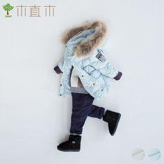 [ завод деревянный ] зима ребятишки письмо вышивка вниз пальто съемный меховым воротником закрытый куртка  2 цвет