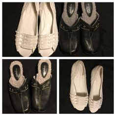 2 Pair Women's Easy Spirit Sz 11W  Shoes; White Flat Sandals,Black Slip On Mules  | eBay