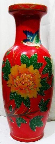 vaso vermelho em porcelana chinesa pintura á mão 62cm