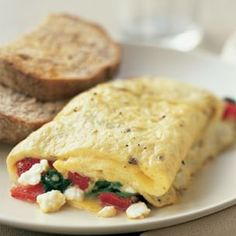 Roasted Red Pepper, Spinach and Feta Omelet Recipe on Yummly