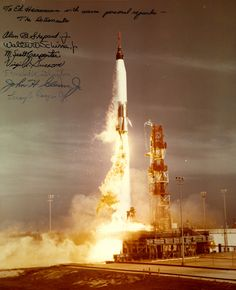 Mercury 7 /via San Diego Air and Space Museum Archive #flickr #nasa #mercury #autographed #whoa #rocket #launch
