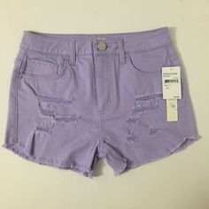 ⬇️PRICE DROP⬇️NWT Nordstrom high waisted shorts Brand new, tags attached high waisted denim light purple shorts from Nordstrom. Size 5. I also have another pair with floral print! Price is firm.  📦 Save on shipping when you bundle! 🌟 20% off 2 items or more  🚫 No trades Love Fire Shorts Jean Shorts