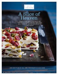 Marzipan, Cranberry Pistachio Squares -Sweet Paul Magazine - Holiday 2010 - Page 10 Cranberry Recipes, Holiday Recipes, Christmas Recipes, Thanksgiving Recipes, Just Desserts, Delicious Desserts, Healthier Desserts, Yummy Treats, Sweet Treats