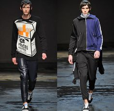 Christopher Shannon 2014-2015 Fall Autumn Winter Mens Runway Looks Fashion - London Collections - Knit Graphic Sweater Jumper Sweatshirt Athletic Sporty Pointed Collar Manskirt Kilt Androgyny Multi-Panel Sixties Flowers Florals Print Checks Tracksuit Running Shorts Outerwear Hoodie Parka Oversized Down Puffer Jacket Sneakers