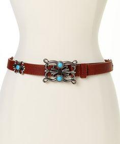 Santa Fe Style Silver & Brown Filigree Buckle Leather Belt