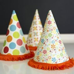 Party hats with fringe.