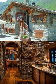 Love this mountain lodge in Spain! The juxtaposition of the stone facade & the shuttered windows w/ flower boxes is totally awesome! Minimalist House Design, Minimalist Home, Log Cabin Homes, Cabins And Cottages, Dream House Exterior, Stone Houses, Home Fashion, Future House, Beautiful Homes