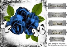 Pretty blue  vintage roses in monogram frame with butterflies 8x8 on Craftsuprint - View Now!