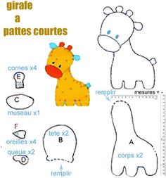 Patterns for giraffe, elephant, rabbits, cats, dachshund, mice, goose, bat, cows, turtle, fish, birds, dolls, etc. In French.